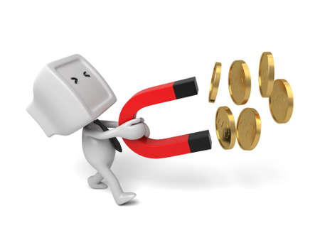 collect: A 3d people collect coins with a magnet. 3d image. Isolated white background