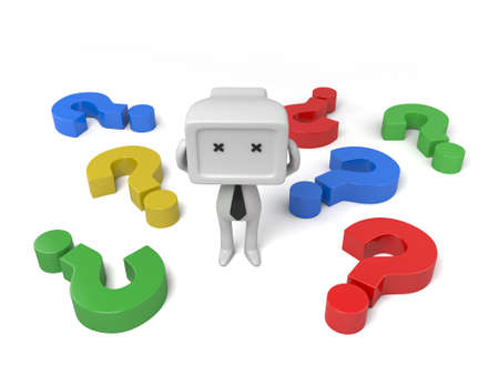 3d people in a pile of question marks. 3d image. Isolated white background photo