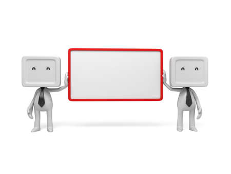 3d people with an empty signboard. 3d image. Isolated white background. photo