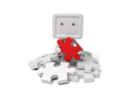 3d small person holding a red   puzzle. Фото со стока