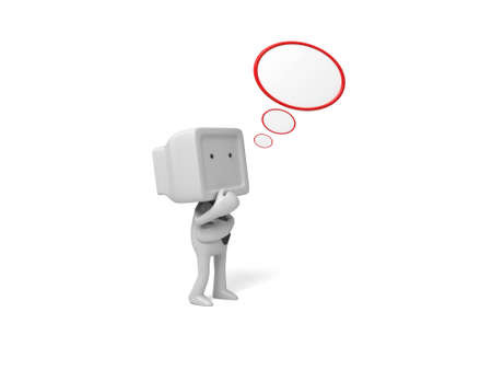 3d people thinking with blank bubble. 3d image. Isolated white background. photo