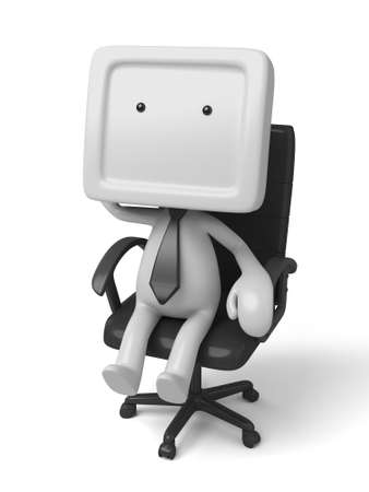 communication cartoon: 3d people sitting on chair thinking. 3d image. Isolated white background