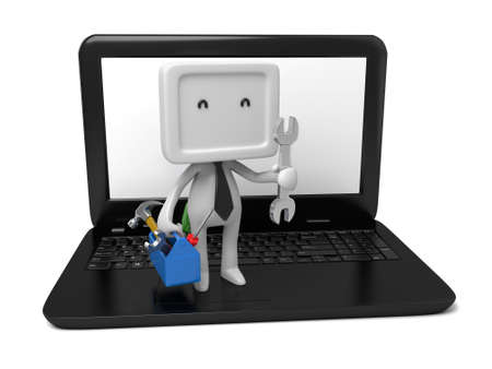 install: 3d people with a toolbox on laptop. 3d image. Isolated white background.