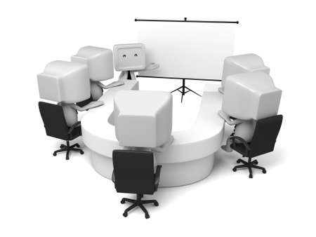 3d people have a meeting. 3d image. Isolated white background
