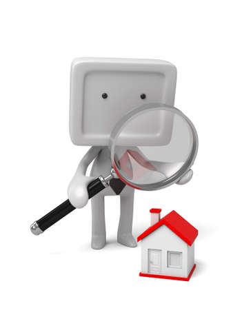 3d people find a best house with a magnifier. photo
