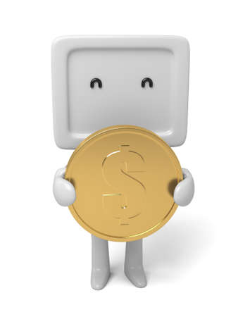 A small person with a big coin.