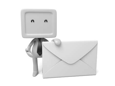 A 3d people with a mail. 3d image. Isolated white background