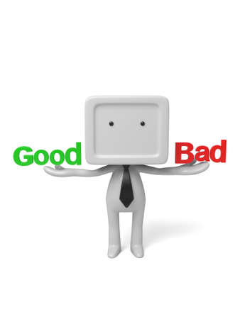 3d people with good and bad word. 3d image. Isolated white background. photo
