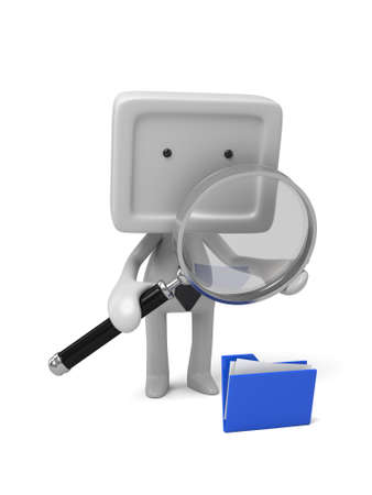 examine: 3d people examine some files with a magnifier. 3d image. Isolated white background