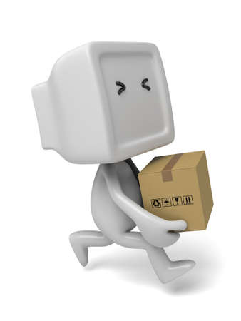 3d small people with a package. 3d image. Isolated white background