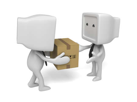 3d small people give a package to customer. 3d image. Isolated white background