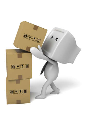 3d small people with packages. 3d image. Isolated white background