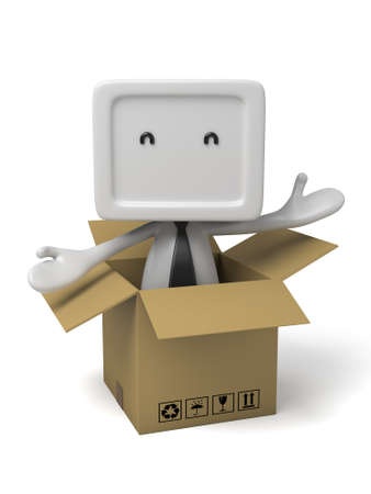 3d small people in a cardboard box. 3d image. Isolated white background Stock Photo