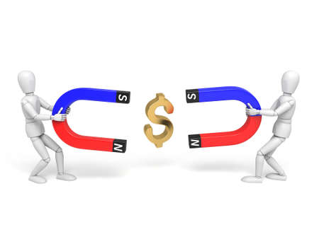 3d people collect dollar with a magnet. 3d image. Isolated white background photo