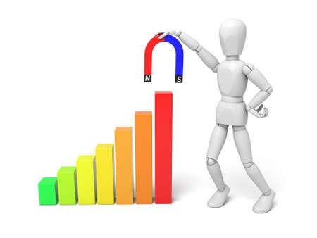 buildup: 3d people lift a chart with a magnet, profit growth, 3d image. Isolated white background