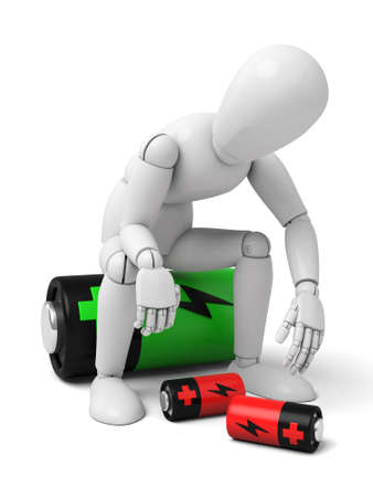 3d tired man sitting on a battery .  3d image. Isolated white background 版權商用圖片