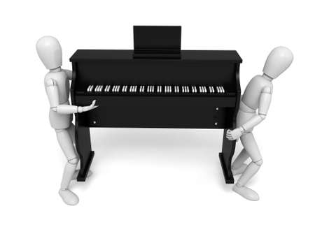 3d people with a  piano. 3d image. Isolated white background