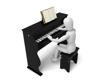 Een 3d mensen spelen piano. 3D-beeld. Geïsoleerde witte achtergrond Stockfoto