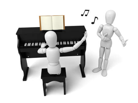 rehearsal: A 3d people playing piano and another singing. 3d image. Isolated white background Stock Photo