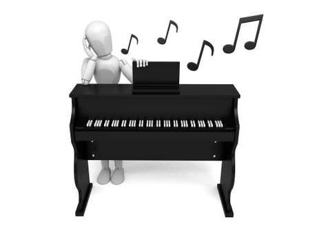 people listening: A 3d people listening music. 3d image. Isolated white background Stock Photo
