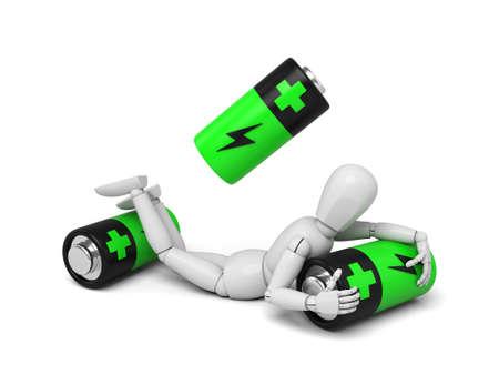 Fantoccio 3D con alcune batterie. Immagine 3d Sfondo bianco isolato Archivio Fotografico - 36057871