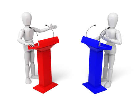lectern: 3d people debate. 3d image. Isolated white background