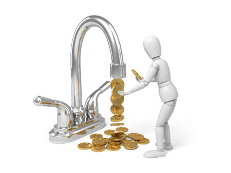 trickles: 3d people with a tap. a lot of  gold coins trickles out .3d image. Isolated white background