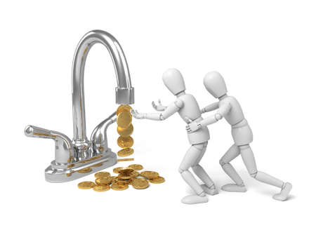 trickles: A 3d people with a tap. a lot of  gold coins trickles out .3d image. Isolated white background