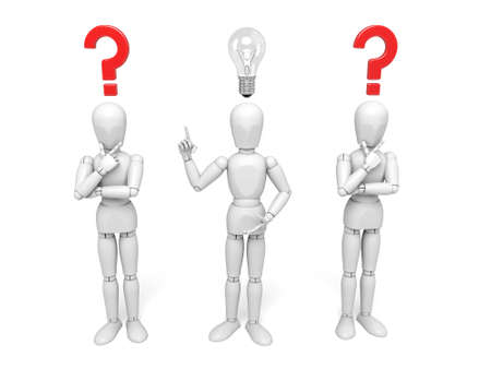 3d people with a lamp and question mark on top of head. 3d image. Isolated white background