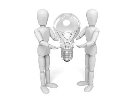 3d people with a lamp. 3d image. Isolated white background