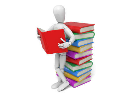A 3d people reading with a pile of books. 3d image. Isolated white background
