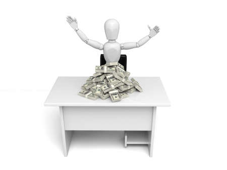 solvency: A small person with a pie of dollars. 3d image. Isolated white background