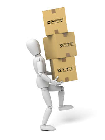 3d small people with some cardboard boxes. 3d image. Isolated white background photo