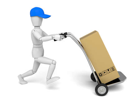 3d people with hand trucks and parcel. 3d image. Isolated white background