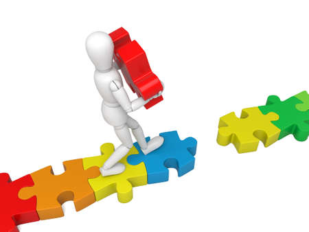 creates: 3d small person creates a link with the red piece. Stock Photo
