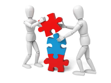 assemble: 3d white people team assemble three   piece of a puzzle 3d image. Isolated white background Stock Photo