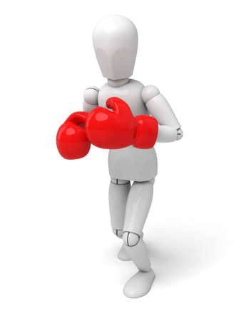 defeated: 3d people with red boxing gloves. 3d image. Isolated white background Stock Photo