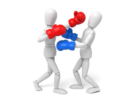 beat the competition: Two boxers during the boxing match. 3d image. Isolated white background
