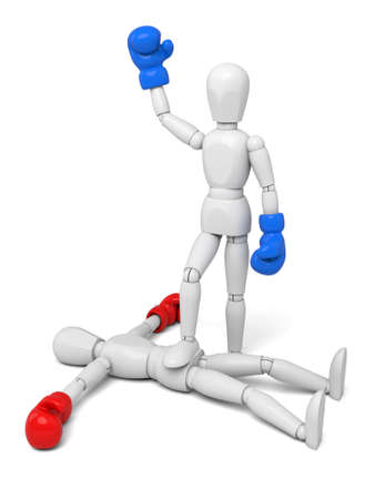 beat the competition: 3d people winning a boxing match and with his foot on his opponent.