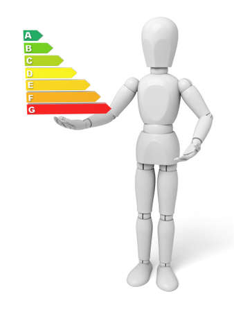 consume: 3d man, person. Human standing with hand on energy efficiency graph