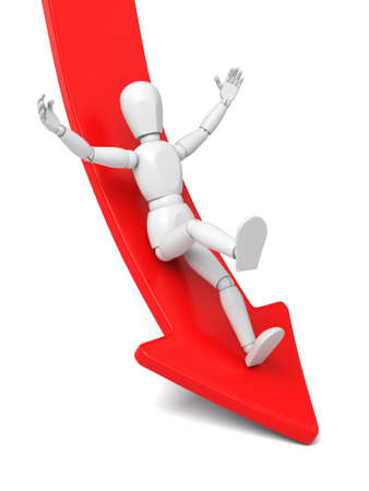 demotion: 3d person rolls down from red arrow. 3d image. Isolated white background. Stock Photo