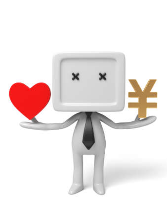 3d people with heart and money.