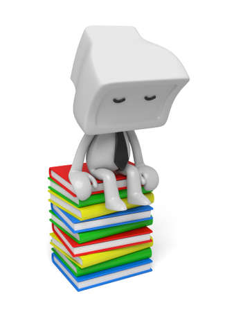 3d person sitting on Stacks of Books. 3d image. Isolated white background. photo