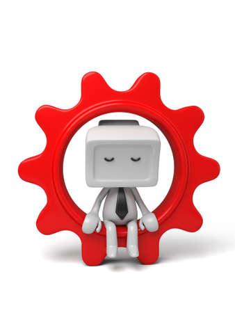 3D pequeña persona saca un gran engranaje. Imagen en 3D. Fondo blanco aislado Foto de archivo - 37815994