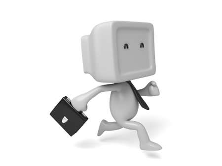 3d people running with a suitcase. 3d image. Isolated white background Stock Photo