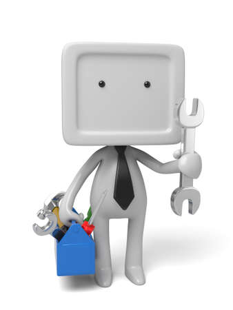 3d people with toolbox and wrench. 3d image. Isolated white background 版權商用圖片