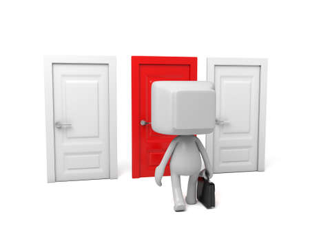 3d people standing by three different door. 3d image. Isolated white background.