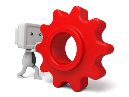 3d small person: 3d small person rolls a large gear. 3d image. Isolated white background Stock Photo