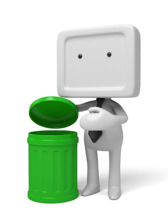 refuse: 3d people standing next to a trash can. 3d image. Isolated white background Stock Photo