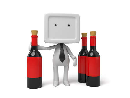 retailers: 3d people with three bottles of wine. 3d image. Isolated white background